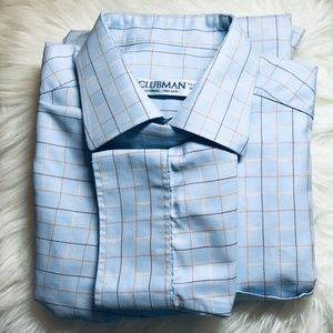 Other - CLUBMAN BUTTON DOWN BLUE WITH TAN STRIPE SHIRT